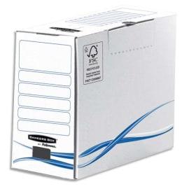 BANKERS BOX Boîte archives dos de 15cm BASIQUE, montage manuel, en carton Blanc/Bleu photo du produit