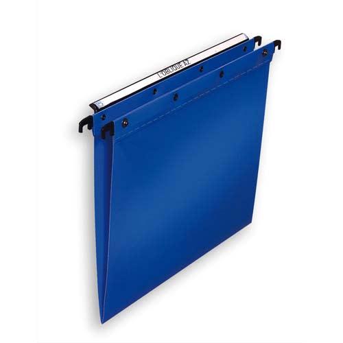 OBLIQUE AZ Paquet de 10 dossiers suspendus TIROIR en polypro opaque 5/10e. Fond V, bouton-pression. Bleu photo du produit Principale L