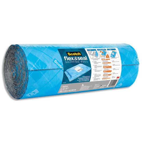 SCOTCH Rouleau d'expédition Flex & Seal Bleu en polyéthylène à bulles, à découper, étanche, 38 cm x 6 m photo du produit Principale L