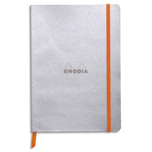 RHODIA Carnet Rhodiarama 14,8x21 160 pages lignées. Couverture simili-cuir Gris Argent photo du produit Principale L