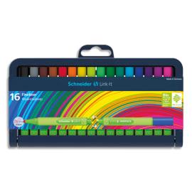 SCHNEIDER Etui chevalet de 16 stylos FINELINER LINK-IT. Pointe nylon 0,4mm. Assortis photo du produit