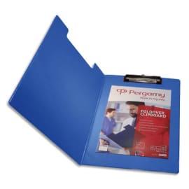 PERGAMY Porte Bloc avec rabat en PVC pour documents format A4+, Bleu - Dimensions L23,3xH34cm photo du produit
