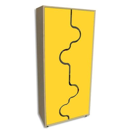 MOBEDUC Armoire haute L80 x H180 X P40 cm, 4 tablettes, portes vague couleur Jaune photo du produit Principale L