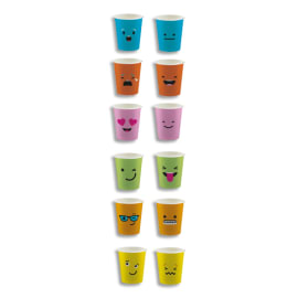 HUHTAMAKI Sachet de 100 Gobelets 16 cl assortis Emoticônes, carton épais boissons chaudes H7,01 x D8 cm photo du produit