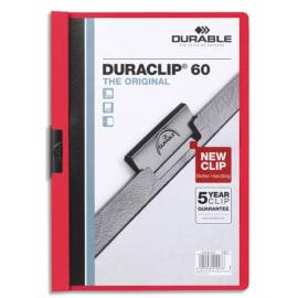 DURABLE Chemise de présentation Duraclip 60 à clip, couverture transparente - 1-60 feuilles A4 - Rouge photo du produit