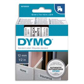 DYMO Ruban D1 Noir/Blanc 12MMX7M pour 1000/1000+/2000/3500/4500/5000/5514 photo du produit