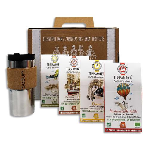 TERRAMOKA Coffret de 4 étuis de 15 capsules de Café bio, biodégradables + 1 travel Mug photo du produit Principale L
