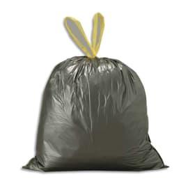 Boîte de 200 sacs poubelles Noirs 100 litres avec liens coulissants 35 microns photo du produit