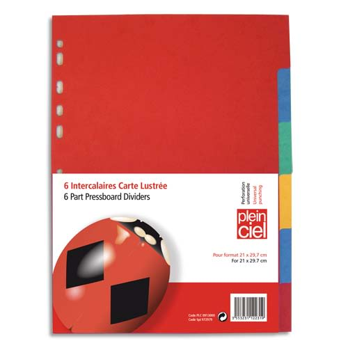 PLEIN CIEL Jeu d'intercalaires 6 positions en carte lustrée colorée A4 photo du produit Principale L