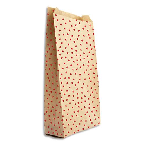 CLAIREFONTAINE Sachet de 50 pochettes cadeau en kraft. Format 11x21+5cm. Impression cœur photo du produit Principale L