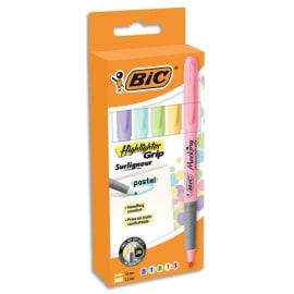 BIC Pochette de 5 surligneurs Highlighter Grip assortis pastel: Jaune, Rose, Orange, Vert et Bleu photo du produit