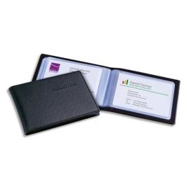 SIGEL Porte-cartes aspect cuir Noir mat avec 20 pochettes, capacité 40 cartes L11 x H7,5 x P1,2 cm photo du produit