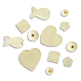 GRAINE CREATIVE Sachet de 300 perles en bois brut à décorer, formes assorties, 50 x 6 modèles photo du produit