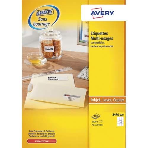 AVERY Boîte de 1200 étiquettes Blanches multi usages 70 x 70 mm 3474-100 photo du produit Principale L