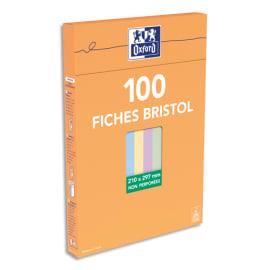 OXFORD Boîte distributrice 100 fiches bristol non perforées 210x297mm (A4) uni assortis photo du produit