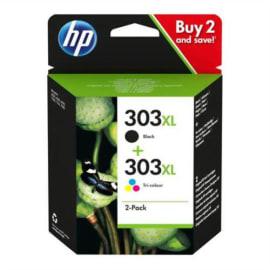 HP 303XL Pack de 2 Cartouches d'Encre Noire et Trois Couleurs grandes capacités Authentiques (3YN10AE) photo du produit