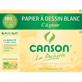 CANSON Pochette de 12 feuilles 24x32cm papier dessin Blanc C A GRAIN 180g photo du produit