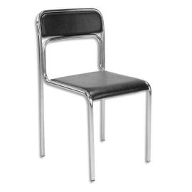 Chaise de conférence Ascona en simili cuir Noire, structure en acier epoxy chromé. Empilable photo du produit