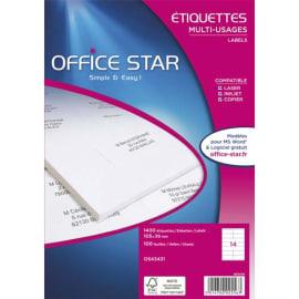OFFICE STAR Boîte de 2100 étiquettes multi-usage Blanches 63,5 x 38,1 mm OS43435 photo du produit