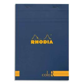 RHODIA Bloc coloR agrafé en-tête 14,8x21 (n°16) 140 pages lignées. Couverture rembordée saphir photo du produit