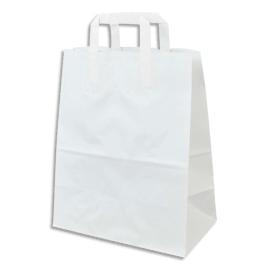 Paquet de 250 Sacs papier Kraft recyclé Blanc, 80g, 10 kg, poignées plates - L26 x H32 x P14 cm photo du produit