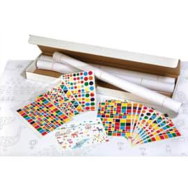 APLI Kit 4 affiches 70x100cm, impression Noire, 48 feuilles de gommettes 4 modèles et couleurs assorties photo du produit