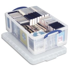 RLU Boîte de rangement 24 Litres + couvercle - Dimensions : L46,5 x H29 x P27 cm coloris transparent photo du produit
