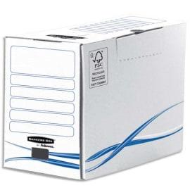 BANKERS BOX Boîte archives dos de 20cm BASIQUE, montage manuel, en carton Blanc/Bleu photo du produit