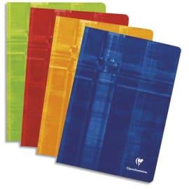 CLAIREFONTAINE Cahier reliure piqûre petit format 17x22 cm 96 pages grands carreaux Séyès papier 90g photo du produit