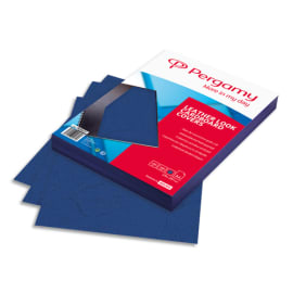 PERGAMY Boîte de 100 plats de couverture grain cuir A4 250gr Bleu 900037 photo du produit