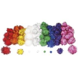 SODERTEX Pack de 200 Pompons métallisés en polypropylène, tailles et coloris assortis photo du produit
