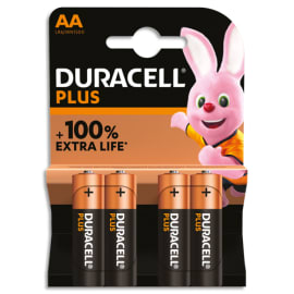 DURACELL Blister de 4 piles PLUS 100% AA 5000394140851 photo du produit