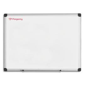 PERGAMY Tableau Blanc émaillé magnétique, cadre aluminium, Format : L60 x H45 cm photo du produit