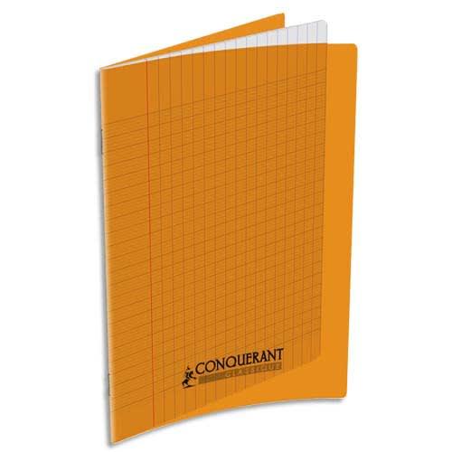 CONQUERANT C9 Cahier piqûre 17x22cm 32 pages 90g grands carreaux Séyès. Couverture polypropylène Orange photo du produit Principale L