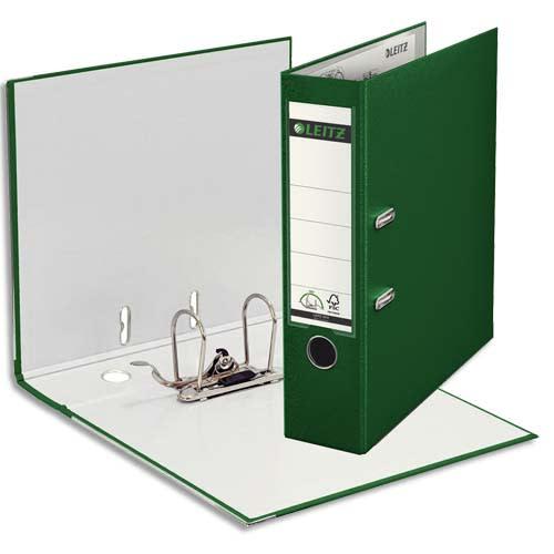 LEITZ Classeur à levier 180 degrés, en carton rembordé de polypropylène, dos 8cm coloris Vert foncé photo du produit Principale L