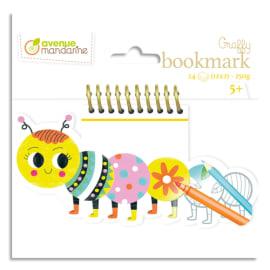AVENUE MANDARINE Bloc de 24 marque page Graffy Bookmark à la forme, Chenille photo du produit