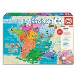 EDUCA Puzzle 150 départements et régions de France, 150 pièces, format 40 x 28 cm photo du produit