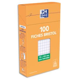 OXFORD Boîte distributrice 100 fiches bristol non perforées 75x125mm 5x5 Blanc photo du produit