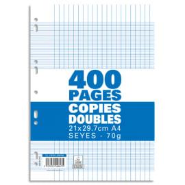 Sachet de 400 pages copies doubles grand format A4 grands carreaux Séyès 70g perforées photo du produit