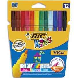 BIC Kids Visa Feutres de Coloriage à Pointe Fine - Couleurs Assorties, Etui Carton de 12 photo du produit