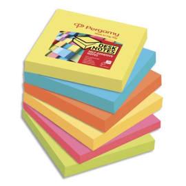 PERGAMY Lot de 6 blocs de 100 feuilles repositionnables accordéon dimensions 7,6x7,6cm. Coloris assortis photo du produit