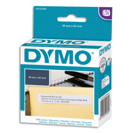 DYMO Rouleau de 500 étiquettes multiusages adhésif décollable 19x51mm S0722550 photo du produit