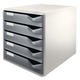 LEITZ Module de classement 5 tiroirs. Gris/Gris foncé. Dimensions (lxhxp) : 32,6x32,1x32,6cm photo du produit