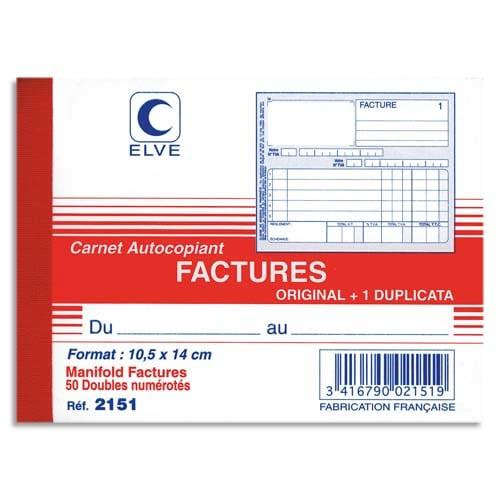 ELVE Manifold autocopiant facture format 10,5x14cm, 50 feuillets dupli photo du produit Principale L
