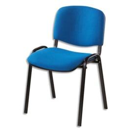 Chaise de conférence Iso Classic en tissu polyfibre Bleu, structure 4 pieds en métal époxy Noir photo du produit