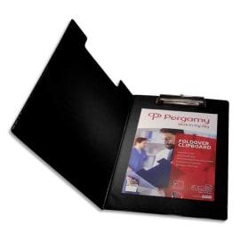 PERGAMY Porte Bloc avec rabat en PVC pour documents format A4+, Noir - Dimensions L23,3xH34cm photo du produit