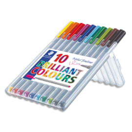 STAEDTLER Triplus fineliner chevalet 334. 10 Feutres d'écriture pointe superfine baguée métal 0,3 mm. photo du produit