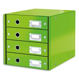 LEITZ Module de classement 4 tiroirs WOW en carton recouvert de polypropylène. Coloris Vert. photo du produit