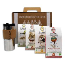 TERRAMOKA Coffret de 4 étuis de 15 capsules de Café bio, biodégradables + 1 travel Mug photo du produit
