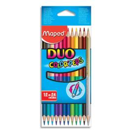 MAPED Pochette 12 crayons de couleurs COLOR'PEPS DUO. 1 crayon = 2 couleurs. Coloris assortis photo du produit